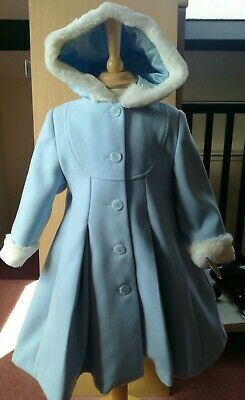 Designer Sarah Louise Pleated Buttoned Winter Pale Blue Coat NWT Age 2yrs Rrp£96