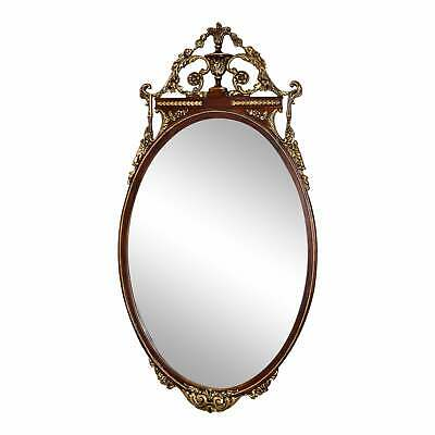 Vintage Carved Mahogany Adams Style Wall Mirror w/Gold Highlights