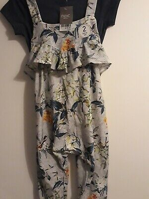 Next Floral Soft Dungarees & T-Shirt Set (4-5 Years) BNWT RRP £18.50