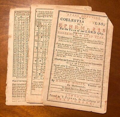 1765 coelstial atlas astronomical almanac sun moon Robert White duty stamp UK