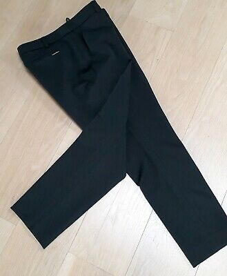 Ladies M & S Autograph Black Jacquard straight smart tailored Trousers Size 14 s