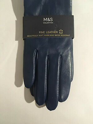 Womans M&S Collection Blue Fine Leather Soft And Water Resistant Small Gloves