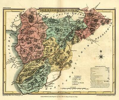 Merionethshire Wales Cardigan Bay 1808 Welsh County Roper engraved map