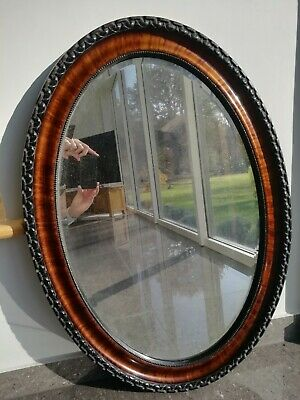 Large Original Antique Victorian Oval Mahogany/Rosewood Wall Mirror