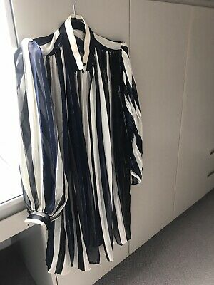 Vintage Giorgio Beverly Hills 100% Silk Coat Top & Scarf Navy Cream Gold Size 40