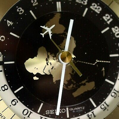 SEIKO QUARTZ GMT WORLD TIME DESK MANTEL CLOCK #QQZ885A Tested and Works