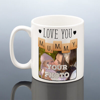 MUMMY PHOTO MUG Personalised Birthday Gift Scrabble Love You Mum Cup Mothers Day
