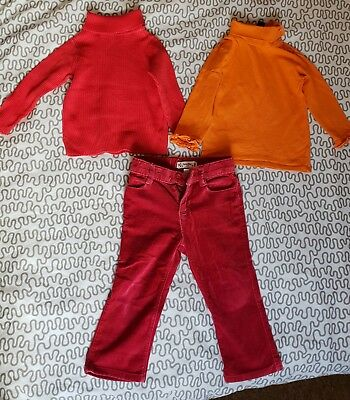 2 Years Gap Baby Girl Velvet Trousers And Long Sleeved Tops Turtle Neck