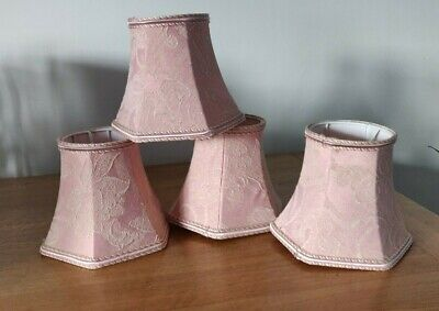 4 x Vintage Pink Lined Chandelier / Wall Light Lampshades