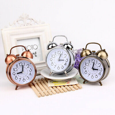 Classic Retro Silent Non Ticking Quartz Double Twin Bell Alarm Clock Loud Alarm