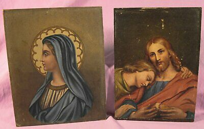 2 Old Religious Paintings On Wood Backings.