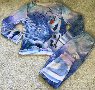 George Girls Fleecy Disney Frozen Olaf Christmas Pyjamas Age 9-10