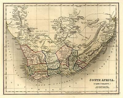 South Africa Cape Colony c.1840 Dower map