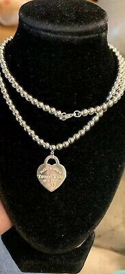 """TIFFANY&Co.Return To Tiffany Sterling Silver Heart Tag Pendant Bead Necklace 16"""""""