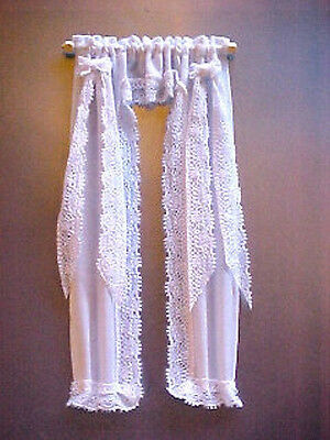 Dollhouse Full Length White Victorian Priscilla Curtains 1:12 Scale Miniatures