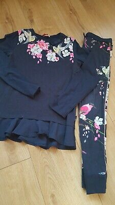 Ted Baker Girls Top And Leggings Outfit In navy blue  Floral Age 11-12 years