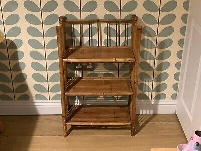 Small Vintage/Antique Bamboo Boho Folding Book Shelf