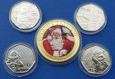 Full set of 4 PADDINGTON BEAR 50P COINS INCLUDING AT ST PAUL'S CATHEDRAL + XMAS