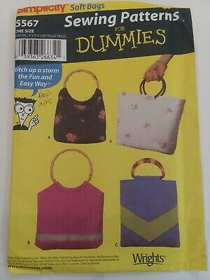 Simplicity Soft Bags Sewing Patterns for Dummies Pattern #5567. 4 styles