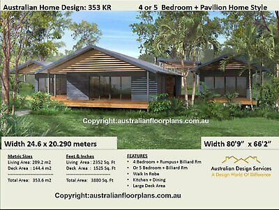 Pavilion Style Home 5 Bedrooms - Sloping Land Home Plans - House Plans For Sale
