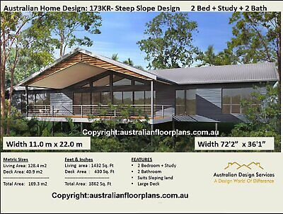 Small Home Design 2 Bedrooms  Sloping land Home Plans - House Plans For Sale