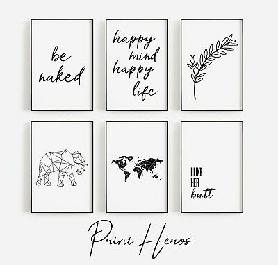 Living Room Prints Black and White Funny Bathroom Wall Art  Pictures ** 3 FOR 2