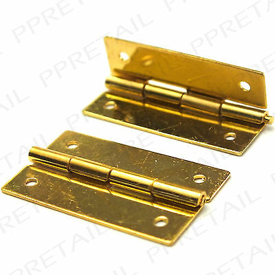 2x MINI SOLID BRASS HINGE 25mm Small Door Doll Cabinet Chest Case Jewellery Pair