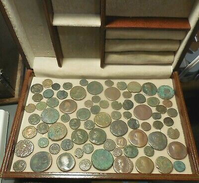 * One Day Only Listing! * Lot of 77 Detailed Ancient Roman Coins, Largest 30 mm!