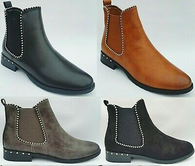 Ladies Womens Low Flat Block Heel Sole Chelsea Studded Ankle Shoes Boots Size