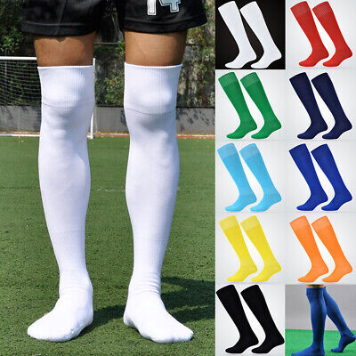 Men Sport Football Soccer Long Socks Solid Knee High Towel Bottom Non-slip Socks