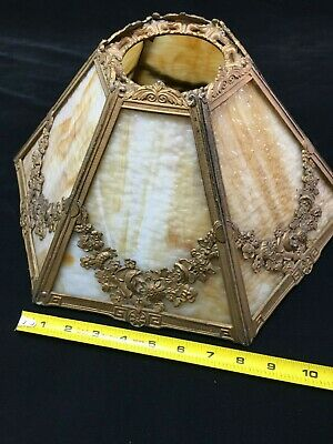 Vintage Yellow & Brown Stained Glass 6 Sided brass oriental style Lampshade