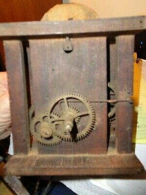 Antique-Wooden Plate Clock Movement-Ca.1850-To Restore-#K26