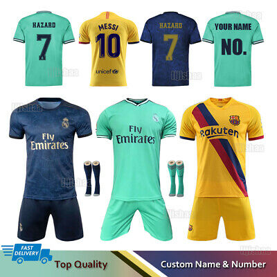 19/20 Soccer Football Full Kit Kids Youth Team Jersey Strips Sports Outfit+Socks