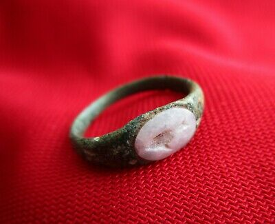 Beautiful Roman bronze ring with natural stone - dolphin engraved