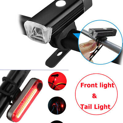 Bike Bicycle Lights USB LED Rechargeable Set Mountain Front Back Headlight Cycle