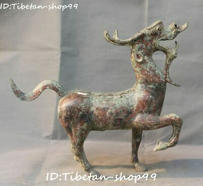 Antique Chinese Bronze Ware Fengshui Dragon Loong Horse Success Animal Statue
