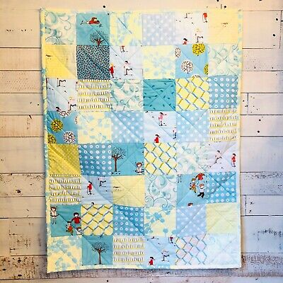 Handmade Baby Crib Quilt Pastel Cotton Fabric With Blue Minke Backing