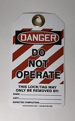"25 Pc  Accuform Lockout Tag Out ""DANGER DO NOT OPERATE"" Safety Tag 5 7/8""X3 1/8"""