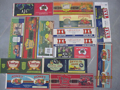 Labels vintage Australian x15 , Mountain Maid, AJC, IXL and others