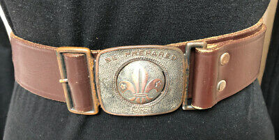 Vintage 60s/70s Boy Scout Leather BELT Be Prepared Brass buckle & clip