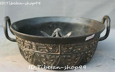 Antique Chinese Bronze Ware Dragon Beast Oracle Words Dish Plate Tray Statue