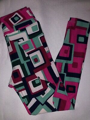 (BoxF) LuLaRoe Kids Leggings S/M Small Medium New White Pink Green 3-D Squares