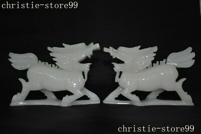 """10/"""" Exquisite Chinese 100/% NATURAL WHITE JADE HAND CARVED RUYI STATUE"""