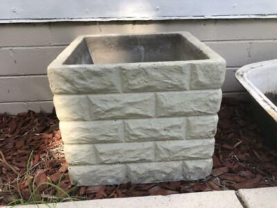 Vintage Retro Concrete Grey Square pot planter atomic style garden