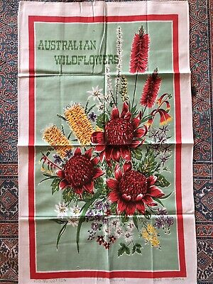 "Vintage Cotton ""Australian Wildflowers"" Tea Towel."