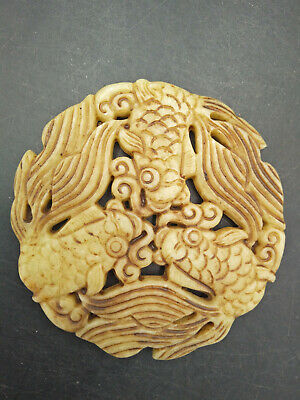 Hongshan culture ,collectibles,Chinese old  jade fish  pendants WM515