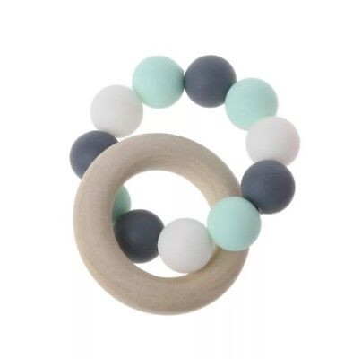 Baby Bracelets Wooden Crochet Beads Teether Silicone Teething Wood Rattles Toy