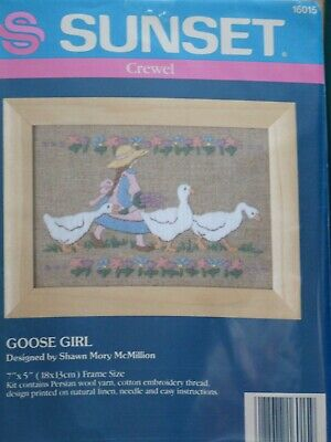 "'Goose Girl' Sunset Crewel Embroidery Kit 16015  7"" x 5"""