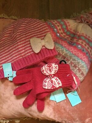 Monsoon Children Girls Winter Hats & Gloves Bundle, Age 3 To 6 Years NEW RRP £32