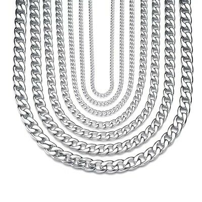 3/4/6/9/12/15mm MENS Boys Chain Link Silver Curb Stainless Steel Necklace Punk